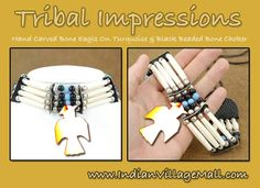Hand Carved Bone Eagle On Turuqoise And Black Beaded Bone Choker  -Review the extensive Tribal Impressions Bone Choker collection off of: http://www.indianvillagemall.com/bonechockers.html