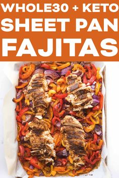 + Keto Sheet Pan Chicken Fajitas Recipe - simple and fast dinner! Throw all the veggies and chicken on a sheet pan and let the oven do all the work for you! You are just going to love this 30 minute Paleo, gluten free, dinner. Easy Crockpot Chicken, Chicken Fajita Recipe, Chicken Fajitas, Keto Chicken, Chicken Recipes, Broil Chicken, Healthy Chicken, Real Food Recipes, Keto Recipes