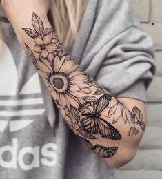 Sunflower Tattoo Sleeve, Nature Tattoo Sleeve, Sunflower Tattoo Shoulder, Sunflower Tattoos, Sunflower Tattoo Design, Nature Tattoos, Butterfly Tattoos, Flower Arm Tattoos, Flower Sleeve
