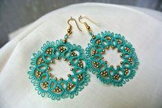 Tatted earrings aquamarine lace jewelry from Il filo chiaro by DaWanda.com