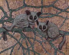 Bush Babies, Oil and Bronze Leaf on Canvas, 40cm by 50cm, (2015) by Marc Alexander