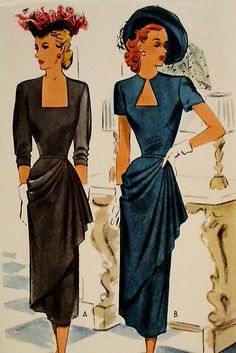 Vintage 40's Ladies Drape Front Dress Pattern, 2 Necklines, Size 16 UNCUT/RARE