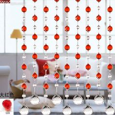 crystal beaded curtain,glass beads curtain, home decor, wedding decoration, wedding accessories, room divider, party decor J-082. via Etsy.