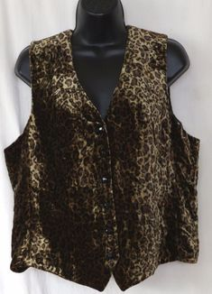 431953a02829 LAUREN RALPH LAUREN Lined Rayon Silk Panne Velvet Vest Animal Print - Sz L  NWOT