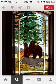 Bear in the woods stained glass
