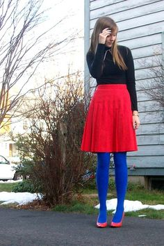 Red skirt with electric blue tights