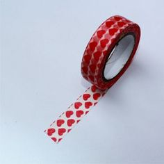 Washi Tape Blanco con corazones rojos