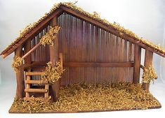 Vintage Wood Nativity Stable W Reed Roof Back, Twigs, Loft, Moss, Made Taiwan | What's it worth