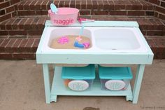 Woman Transforms Old Metal Sink Into Kids Activity Table