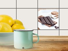 """Schokolade macht glücklich! :) Mit unserem Fliesenaufkleber """"Schokoladenliebe"""" bekommt man gleich Lust auf eine kleine Nascherei. ;) Retro, Mandala, Mugs, Tableware, Design, Blue, Home Decor, Ornament, Mosaics"""