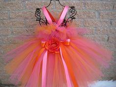 Tutu Dress, PINK AND ORANGE, Bit of Fluff Bodice, Babies 3-24 Months    ElsaSieron - Clothing on ArtFire