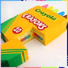 Crayon Box CAKE I want it for my birthday already Cake Decorating Videos, Cake Decorating Techniques, Cookie Decorating, Baking Recipes, Cake Recipes, Dessert Recipes, Creative Cakes, Creative Food, Delicious Desserts