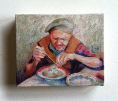 Mashed potatoes / Tiny canvas print by tushtush on Etsy, $20.00