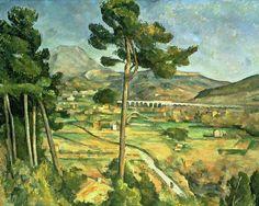 """PAUL CÉZANNE (Francês: Aix-en-Provence, 1839 - 1906) Pode ser considerado como a ponte entre o impressionismo do final do século XIX e o cubismo do início do século XX. A frase atribuída a Matisse e a Picasso, de que Cézanne """"é o pai de todos nós"""", deve ser levada em conta / Landscape with viaduct Montagne Sainte-Victoire (1887)"""