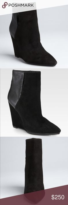 Rebecca Minkoff Odette Wedge Bootie A deeply notched shaft splits these slim booties into panels of velvety suede and supple leather, offering a refined take on colorblocking. Covered wedge heel and rubber sole. The booties are well-worn with several scuff marks in the suede around the bottoms. Make an offer given the condition! 😊  Leather: Kidskin. Imported. Color: Black Heel: 4in / 100mm Shaft: 4.5in / 11.5cm  ✨ No trades. 📦 No returns. 💌 Ships from smoke free / pet free home. ✨ Rebecca…