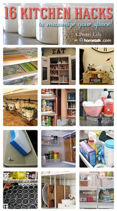 16 Kitchen Hacks To Maximize Your Space {A Pretty Life}  |  Great tips for organization in your kitchen!  Easy to implement too!