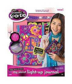 Keeping your thoughts in a journal is now even more fun with the Shimmer 'n Sparkle My Secret Light-Up Journal! This journal lights up with 5 flashing patterns, and comes with an invisible ink light up pen that lets you write those super secret personal thoughts that are for your eyes only!