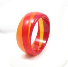 Red Orange Swirl Bangle Bracelet Chunky Thick Statement Funky Lucite Designer Vintage Costume Jewelry Runway Prop Costume Designs Retro by TreasureTrovebyTish on Etsy