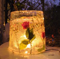 It's an ice lantern but someone's been clever and decorated it with withered flowers - it looks absolutely fabulous! Snowflake Photos, Ice Art, Snow Much Fun, Winter Pictures, Decorating Blogs, Holidays And Events, Activities For Kids, Lanterns, Cool Designs