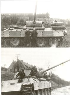 A German tank crew works to get their Panther tank going again....