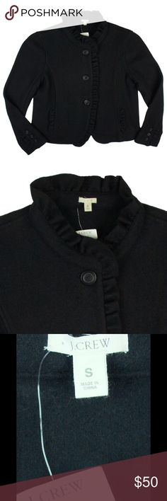"""New JCrew Black Cropped Ruffled Mandarin Jacket This new black wool flannel ruffled mandarin jacket from JCrew features a cropped fitted style, ruffle trim detail by the button line and collar, and bracelet length sleeves. The style is more of what JCrew calls a """"shrunken fit"""". Unlined. Made of a wool blend. Measures: Bust: 36"""", Total Length: 19.5"""" Sleeves: 22"""" J. Crew Jackets & Coats"""