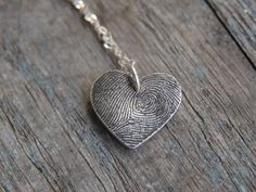 custom heart fingerprint necklace. Great Mother's Day gift or perfect for a new mom.