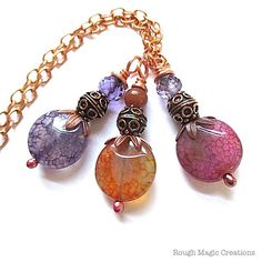 Renaissance Pendant Necklace Crackle Agate Gemstone, Copper by RoughMagicCreations #jewelryonetsy