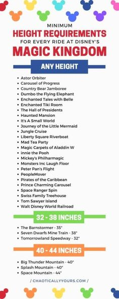 Height Requirements for Every Ride at Walt Disney World - Chaotically Yours Disney Elephant, Dumbo The Flying Elephant, Disney World Rides, Walt Disney World Vacations, Disney Worlds, Disney Travel, Disney Parks, Magic Kingdom Rides, Disney World Magic Kingdom
