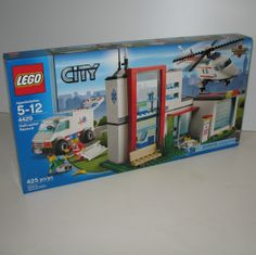 Lego City Helicopter Rescue set 4429 has not only a helicopter but an ambulance and a small hospital. Comes with four mini-figures, including a patient, paramedic, pilot and doctor. #helicopters #lego #ck