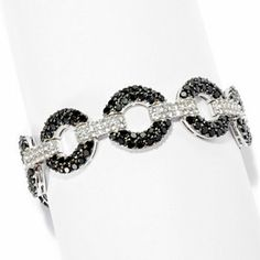 Gem Treasures Sterling Silver Black Spinel & White Topaz Circle Link Bracelet