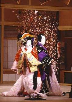 Kabuki - Japanese theatre. No woman allowed. Only male actors. I have seen this live. At first I was incensed by the no women thing. Still am. But it is very beautiful and emotive.