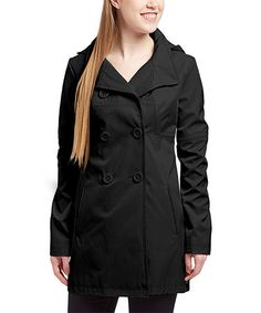 Love this Black Hooded Trench Coat on #zulily! #zulilyfinds