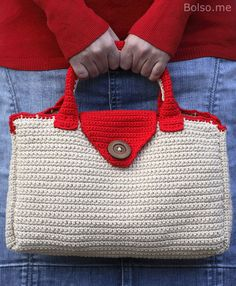 Bolso.me: crocheted bag in red and beige