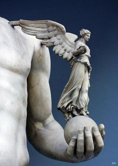 Winged Victory. Detail from the statue of Emperor Lucius Verus. 161-69.A.D. Vatican museum.