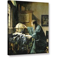 Johannes Vermeer The Astronomer Gallery-Wrapped Canvas, Size: 20 x 24, Brown