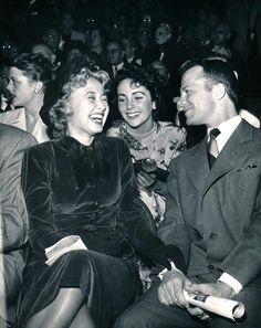 Angela Lansbury, Jane Powell, Elizabeth Taylor, Lon McAllister Ice Follies at the Pan Pacific Auditorium, 1949.