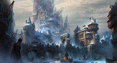Fortress; cliff city; fantasy; D&D; pathfinder; location art Castle illustration Castle art Fantasy landscape
