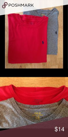 2 Men's Polo T Shirts 2 very gently worn Polo short sleeve T-shirts. One Heathered Grey and one Red. Great condition. Polo by Ralph Lauren Shirts Tees - Short Sleeve