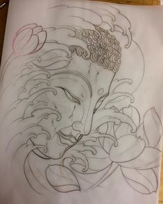 Japanese Drawings, Japanese Tattoo Designs, Buda Tattoo, Buddha Tattoo Design, Buddha Kunst, Buddha Art, Japanese Dragon Tattoos, Japanese Sleeve Tattoos, Arm Tattoos