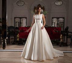 Wishesbridal Formal O Neck Court Train Satin #BallGown #WeddingDress Acd0024