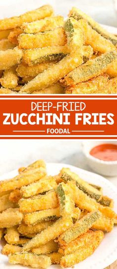 Crispy and Delicious Deep Fried Zucchini Fries - Zucchini rezepte Fried Zuccini, Deep Fried Zucchini, Fried Zucchini Sticks, Fried Zucchini Recipes, Zucchini Pommes, Zucchini Fries, Cooking Zucchini, Cooking Salmon, How To Fry Zucchini