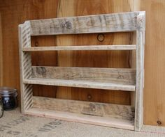 All new orders will be made at the beginning of January. Merry Christmas :) Handmade rustic spice rack made from reclaimed pallet wood in a choice of 3 finishes, natural, medium oak and dark oak. Natural finish - pictures 1 & 4 Medium oak - pic 2 Dark oak - pic 3 We pride ourselves on the build quality and finish of our items, please take a look at our reviews and buy with confidence. The pallet wood we use is full of character with old nail marks and ware from its previous life. The shel...