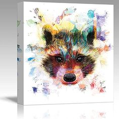 Wall26 - Fun and Colorful Splattered Watercolor Raccoon -... https://www.amazon.com/dp/B01FSEEV02/ref=cm_sw_r_pi_dp_x_IkGXyb9JVNXAE