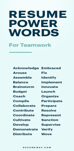 Resume Power Words That Will Get You Hired - For Teamwork Resume Advice, Resume Help, Resume Skills, Job Resume, Career Advice, Resume Ideas, Resume Power Words, Resume Words, Resume Writing