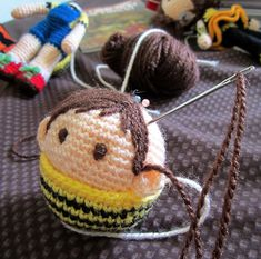 Free Bee Girl Amigurumi PatternMaking-Hair-for-Amigurumi-Dolls----Tales-of-Twisted-Fibers Crochet For Boys, Cute Crochet, Crochet Crafts, Yarn Crafts, Crochet Projects, Crochet Dolls Free Patterns, Amigurumi Patterns, Doll Patterns, Crochet Amigurumi
