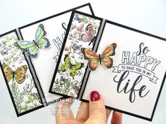 "New Product Peeks: Botanical Butterfly I couldn't wait to play with my 2019 Occasions & Sale-a-Bration catalog products! I created this pretty yet super-simple card with the new Amazing Life stamp set, the Butterfly Duet Punch, the Black/Silver ¼"" Striped Paper Cards, Diy Paper, Paper Butterflies, Stampin Up Catalog, Stamping Up Cards, Tampons, Greeting Cards Handmade, Butterfly Cards Handmade, Scrapbook Cards"