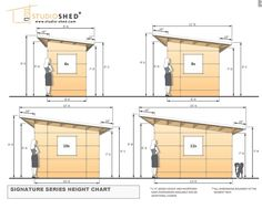 www.studio-shed.com Common dimensions for the Studio Sheds from our Signature Series - interior and exterior elevations and more. studio   shed   storage   studio shed   modern   home office   shed ideas   backyard ideas   retreat   home gym   art studio   music studio   prefabricated   small living