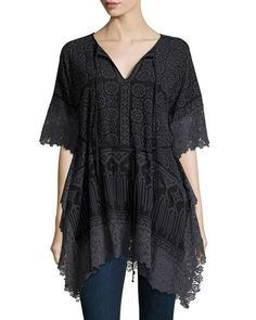 TCTXY Johnny Was Collection Natt Tie-Neck Georgette Tunic