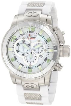 Invicta Men's 1023 Corduba Chronograph Mother Of Pearl Dial White Polyurethane Watch Invicta. Save 75 Off!. $227.90. Mineral crystal; brushed and polished stainless steel case; white polyurethane bracelet with textured stainless steel center links. Chronograph function with 60 second, 30 minute and 1/10 of a second subdials; date function. Swiss quartz movement. White mother of pearl dial with white hands, hour markers and arabic numerals; luminous; secured screw-down protective c...