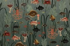 We seem to have a decent idea of the species on land, but we are pretty unaware when it comes to marine life. This fascinating wallpaper depicts an Underwater Wallpaper, Ocean Wallpaper, Wallpaper Paste, Animal Wallpaper, Black Wallpaper, Bathroom Wallpaper, Deep Blue Sea, Underwater World, Forest Animals